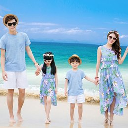 b6d40ff870e Family Matching Outfits Father Mother Daughter Son 2016 Summer Solid Beach  Dresses Family Look Bohemia Chiffon Dress Clothes Set