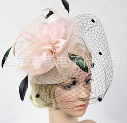 $enCountryForm.capitalKeyWord NZ - Married bridal veil floral hat headdress party catwalk stage photography props flower white gauze feather covered face head ornaments