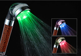 Wholesale 22 dx2 Negative Ions Hand Held LED Showers Head Lights Washable Purify Self Control Bathroom Shower Nozzle Lamp Colorful
