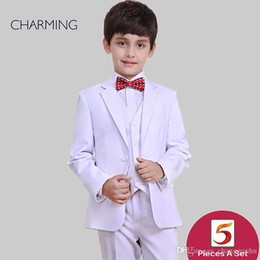 Three Piece Suit Bow Australia - White suits for boys Three piece suit Free shirts and bow ties high quality Boys suit set Childerns suits Wedding suits for boys