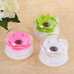 Plastic Toothpick Wholesale Canada - Wholesale- Modern Beautiful Lotus Cotton Swab Plastic Box Toothpicks Holder Stand with Transparent Cover Pink White Green High Quality