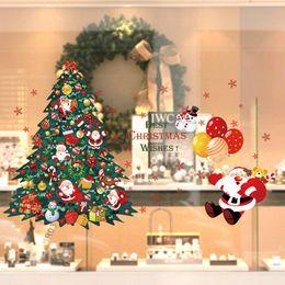 Christmas Window Stickers For Shops Canada - Shop Window Glass Christmas Tree Santa Claus Wall Sticker Home Decorations, Christmas DIY Home Decor Art Wallpaper
