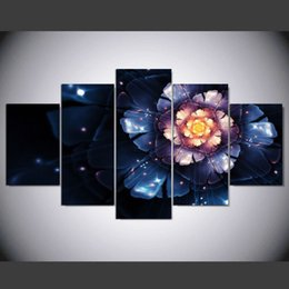 $enCountryForm.capitalKeyWord Canada - Unframed 5 Panel Glowing Art Flowers Painting on Canvas Home decor Fashion Wall Art Print Pictures For Living room