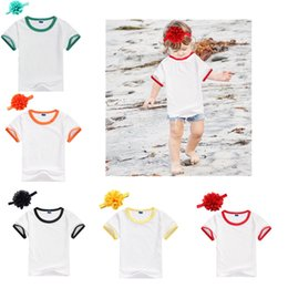 Barato Bebês Brancos Camisetas-5 Colors Baby Shirts 2017 New White Girls Boys T-shirts com Flower Headband Summer Children Round Collar Tee Shirt Moda Kids Tops A7123