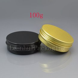 metal tea tin containers wholesale Australia - 100g gold empty aluminum cosmetic bottle black aluminum jar tin with screw lid metal black tea box aluminum gift containers