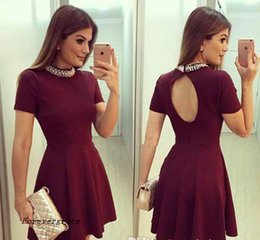 Robes Perlées Pas Cher-2017 Hot Burgundy Cap Sleeves Short Robe Homecoming Vintage Beaded Juniors Sweet 15 Graduation Cocktail Party Dress Plus Size Custom Made