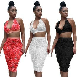 Barato Lace Midi Vestido Barato-Halter Crop Top Sexy Outfit Two Pieces Bodycon Vestidos Midi Com Lace Floral / 3 Color S-XL / Cheap Cheap DHL Fast Shipping