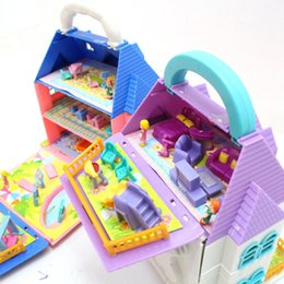 Used Toys Wholesale Australia - Blue, pink, and color Children's toys can be used to break up portable villas with furniture toys Children Kids Gift
