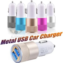alloys chinese NZ - Universal Aluminum Alloy Car Charger Dual 2USB In Car Charger For iPhone Samsung LG Android Car Cigarette Lighter Socket Adapter