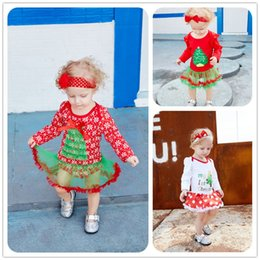 Árbol De Cabeza De Bebé Baratos-2017 Recién Bebé Vestido Niños Niñas Ropa de Navidad copo de nieve Stocking Tree Printed Little Dresses Diadema Mini Romper Mikrdoo Recién Nacido Conjuntos