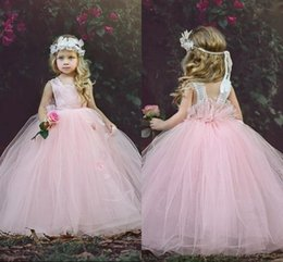 Robes Pour Un Concours Pour Nourrissons Pas Cher-Blush Pink Flower Girls Robes Tulle Ruffles Girls Pageant Dress For toddler infant Custom Made First Communion Dress Enfant Formal Wear