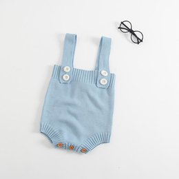 Barato Bodysuits Bonitos Do Bebé-Retail 2017 New Baby Bodysuits Infant Clothing Cute Angel wings Girls Jumpsuits Soft knitted Algodão Newborn Clothing EG007