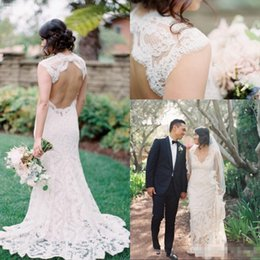 Simple Lace Wedding Dress V Neck NZ - Full Lace Country Beach Wedding Dresses 2017 Sexy Backless V Neck Cap Sleeves Plus Size Vintage Bohemian Style Simple Bridal Gowns