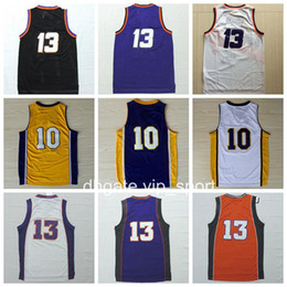 Barato Camiseta Masculina Masculina-Men 13 Steve Nash Jersey Throwback 10 Steve Nash T-shirt de basquete Vintage Vintage Stitched Sport Black Yellow Purple White Com Nome do Jogador