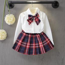 BaBy three dress online shopping - Autumn Spring New School Style Fashion Baby Girls Dress Set White Shirt Top With Plaid Knot Tie Plaid Mini Skirt Sets T