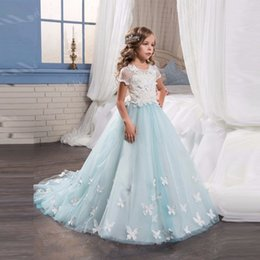 White Communion Dresses Short Australia - 2017 White and Liight Blue Flower Girls Dresses with Butterfly Short Sleeves Ball Gown Girls First Communion Gown Little Girls Pageant Dress