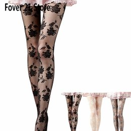 Discount acrylic hose - Wholesale- Hot Fover 21 New Women Rose Sexy Panty Hose Socks Long Socks Over Knee High Sock Free Shipping Wholesale