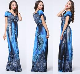 $enCountryForm.capitalKeyWord NZ - Wholesale 2017 Ladies Bohemian V-neck Puff Sleeve Slik Elastic Waist Beach Dress Navy Blue Leopard Grain Print Maxi Dresses M-6XL