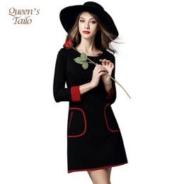 Barato Clássico Vestidos Longos Casual-Classic Black OL Dress New 2016 Mulher Autumn Dress Long Sleeve Casual O-Neck Midi-Length Femme Robe Plus Size q170661