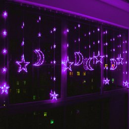 holiday decoration christmas lights led stars moon curtains lantern string for party wedding living room balcony decorative lights - C5 Christmas Lights