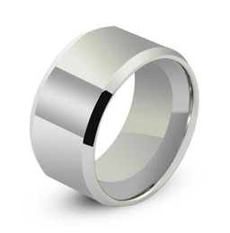 Tungsten Band Sizes UK - 12mm wide High Polish Plain Flat with bevel edges Tungsten Carbide Band wide large jewelry finger ring band for men wholesales