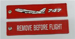 747 Quitar Antes de Vuelo Etiqueta de Equipaje de Equipaje de Lana Tejida de Ganchillo 13 x 2.8 cm 100 unids / lote