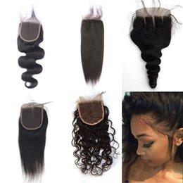Dark black hair color online shopping - Indian Human Hair x4 Water Wave Lace Closure Middle Free Part Virgin Hair Cheap Lace Closure Brazilian BW LW ST YK FDSHINE