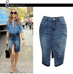 Barato Saia Alta Cintura Alta-Pacote casual para mulheres Hip High Waisted Knee Length Pencil Short Denim Skirt Wholesale