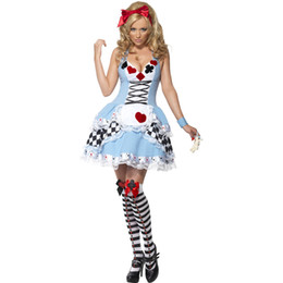 free size lolita dresses UK - Wholesale Halloween Poker Costumes Womens Adult Alice in Wonderland Costume Suit Maids Lolita Fancy Dress Cosplay Costume for Women Girl