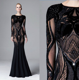 Barato Zuhair Renda Preta-Zuhair Murad Vestidos Evening Wear Manga comprida Jewel Neck Black Sequined Prom Dress Andar comprimento Mermaid Lace Formal Party Vestido 2017 Fall