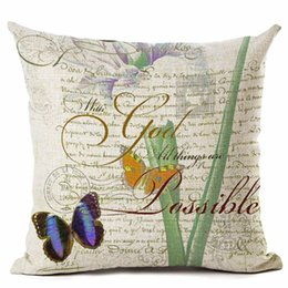 plain white chair covers UK - european vintage cushion cover retro butterfly home decor floral throw pillow case for sofa couch chair shabby chic almofada