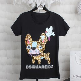 Chemises Femme Amincissante Pas Cher-2016 Fashion Women Dog Printing Slim 100% coton T shirt
