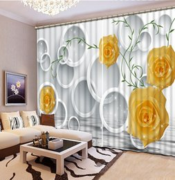 Home Bedroom Decoration Yellow Rose Flower Custom Curtain Fashion Decor  Home Decoration For Bedroom Discount Yellow Curtains For Living Room Part 22