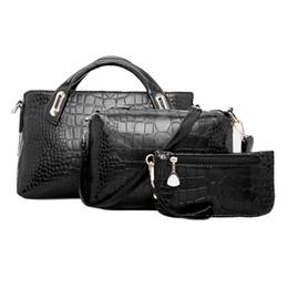 e68d2710504b Wholesale- 3PCS Set Fashion Composite Bags Women Shoulder Bag Vintage Women  PU Leather Handbags and Purses Ladies Crocodile Pattern Bags