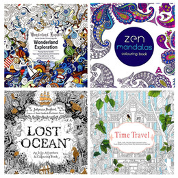 4Pcs The Secret Garden Mandalas Wonderland Exploration Lost Ocean Time Travel Coloring Book For Adult Kids 185185cm 24pages