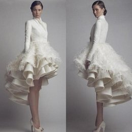 $enCountryForm.capitalKeyWord Canada - High Collar Long Sleeves Taffeta High Low Wedding Gowns Layered Ruffles Luxury Bridal Gowns with Feather Modest Party Special Occasion Dress
