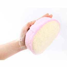 exfoliating puff sponge Canada - Wholesale- Natural Loofah Brushes Back Exfoliating Strap Bath Brush Shower Puff Spa Scrubber Loofah Body Wash Cleaning Brush Scrubber