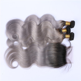 parting closure ombre Australia - Free Middle Thre Part 4x4 Gray Ombre Lace Closure With Extensions Body Wave Dark Root Silver Grey Ombre Peruvian Hair 3Bundles With Closure