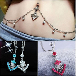 Discount chain navel - Sexy belly button ring with diamond waist chain belly dance stainless steel umbilical chain piercing jewelry