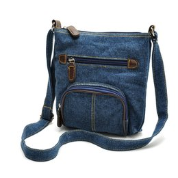 Discount denim color handbags - New women Leisure blue denim single shoulder messenger purse lady fashion handbag blue black color no214