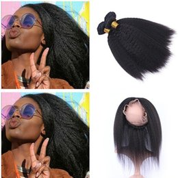 italian yaki virgin hair NZ - Afro Kinky Straight 360 Lace Frontal With Bundles Indian Virgin Human Hair Italian Coarse Yaki With Ear to Ear Lace Band Frontal Closure