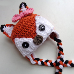 crochet hats children winter animal Canada - What does the fox say-Handmade Knit Crochet Baby Girl Fox Hat,Children Animal Earflap Hat,Winter Cap,Infant Toddler Photo Prop