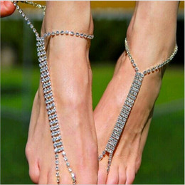anklet toe chain UK - New Fashion Rhinestone Bridesmaids Wedding Foot Chain Bitch chain Anklet Toe Silver Gold Charms Beach Jewelry for Feet 10pcs