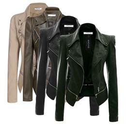 Искусственная кожа куртка мода молния женщины Дамы с длинным рукавом Осень-Зима Повседневная Искусственная кожа куртка черный