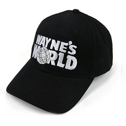 China Wholesale- Wayne's World Black Cap Hat Baseball Cap Costume Fashion Style Cosplay Embroidered Trucker Hat Unisex Mesh Cap Adjustable Size cheap red cosplay hat suppliers