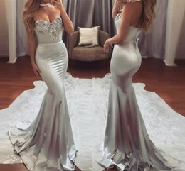 Train À Sirène En Satin Argenté Sirène Pas Cher-Elegant Silver Mermaid Prom Robes Evening Wear Sweetheart Beading Long 2017 Party Dress Backless Sweep Train Formal Occasion Wear