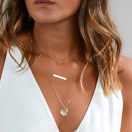 Wholesale TOMTOSH New Fashion Layered Gold Silver Choker Necklace For Women Charm Long Square Multilayer Loos Y Necklace Gift