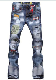 Weihnachtsgeschenk für !! TOP Herren Jeans Fashion Torn Jeans Gepatcht Holey Washed Words Straight Leg Fitted