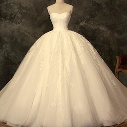 $enCountryForm.capitalKeyWord Canada - Puffy Ball Gown Wedding Dress Sweetheart Sleeveless Big Wedding Dresses Beaded Lace Appliques Tulle Floor Length Bridal Gown with Petticoat