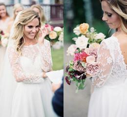 $enCountryForm.capitalKeyWord Australia - Elegant 2019 A-Line Wedding Dresses Long Sleeves Lace Top Open Back Modest Lace Applique Split Summer Beach Bridal Gowns DTJ